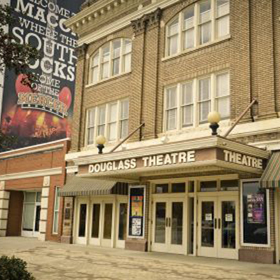 The Fringe Marketing Group of Macon-Media Relations. Picture of the front of the historic Douglass Theatre in Macon.